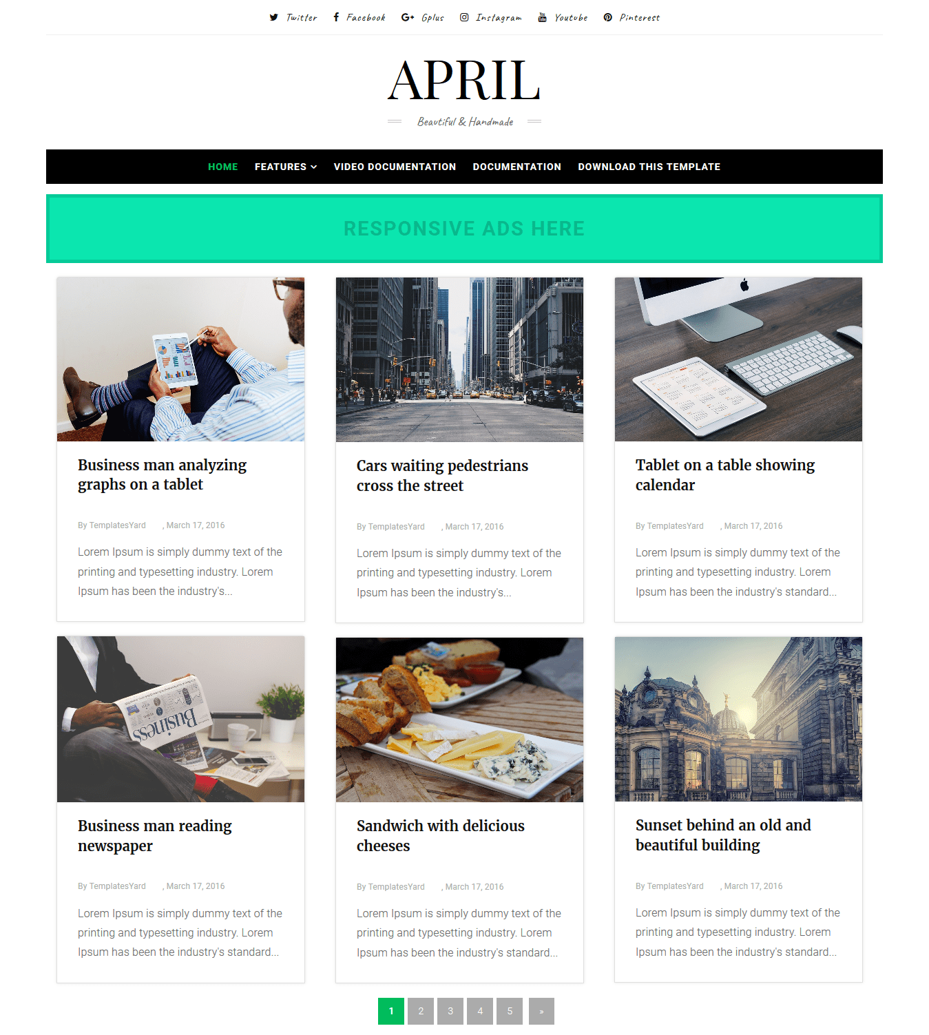 April Grid Layout Blogger Template Without Footer Credit Download