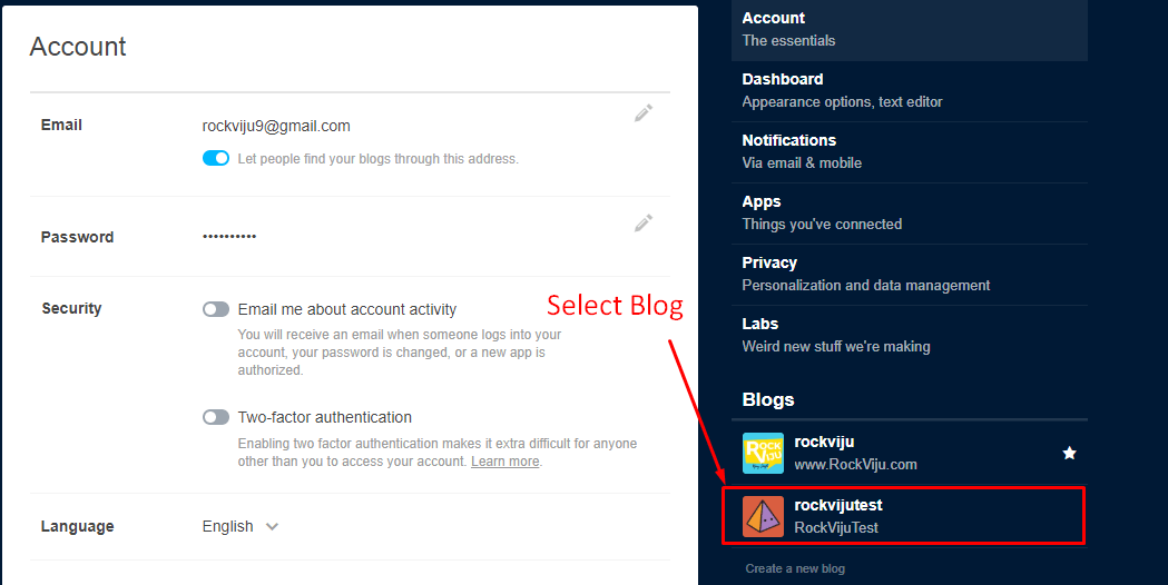 Choose Blog from Tumblr
