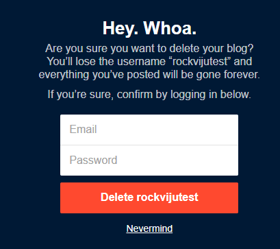 Final Confirmation for Deleting Tumblr Blog