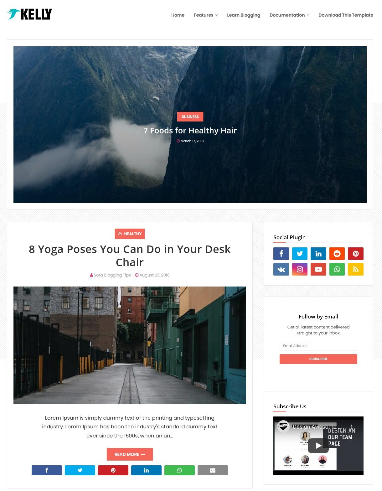 Kelly Responsive Blogger Template