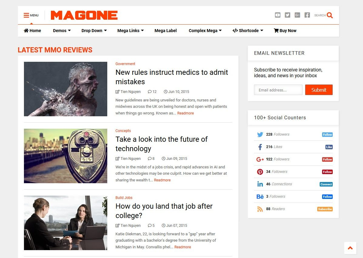 MagOne All in One Blogger Template