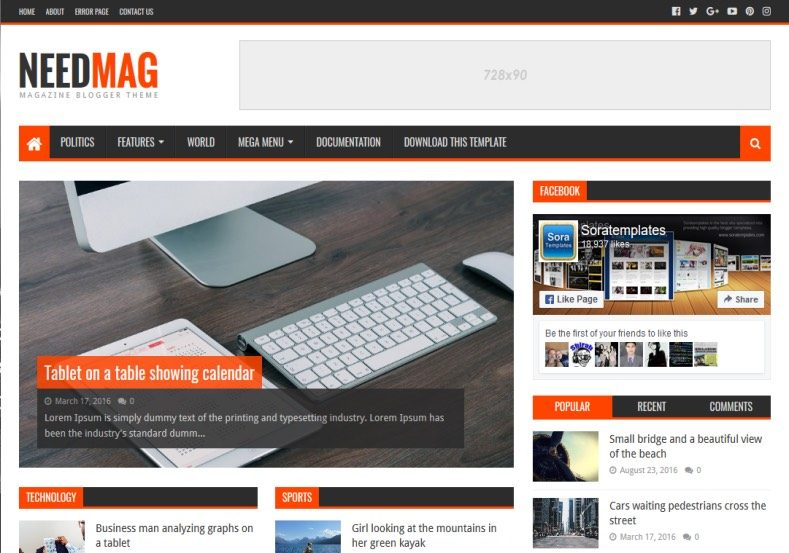 Need Mag Free Blogger Template