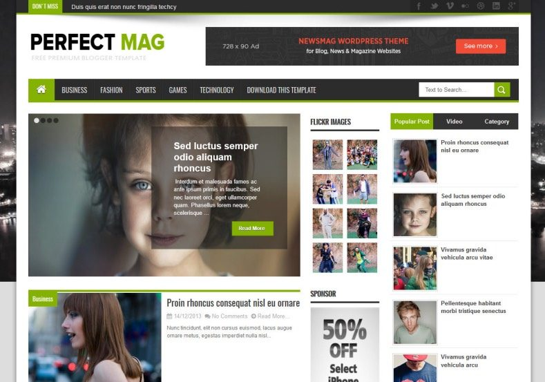 Perfect Mag Free News Blogger Template