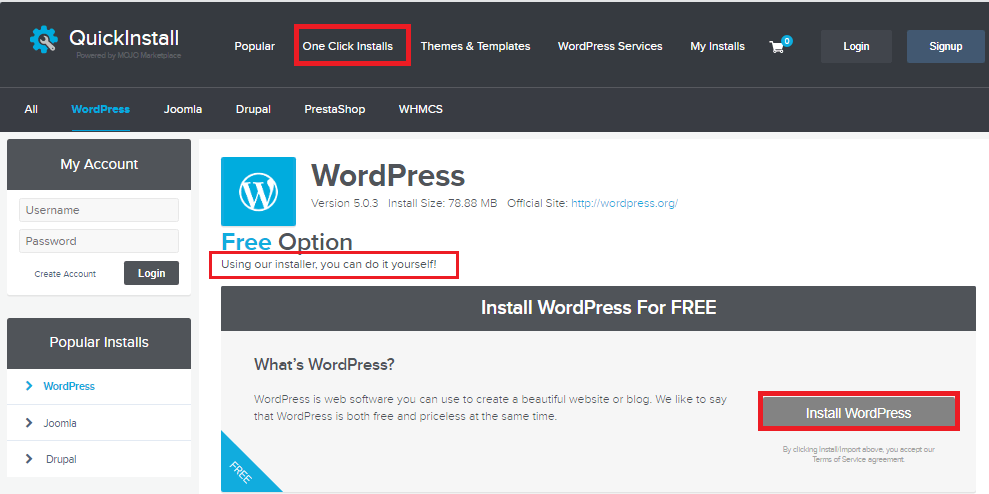Single Click WordPress Installation