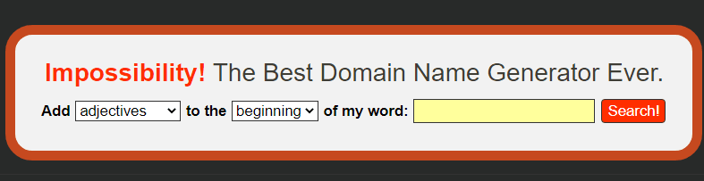 impossibility Best Domain Generator Tool
